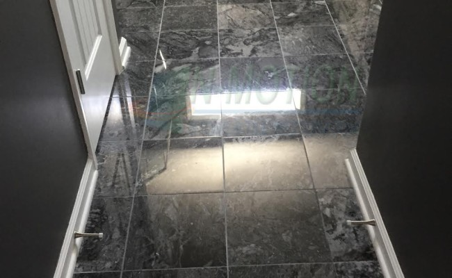 black marble floor after being repolished
