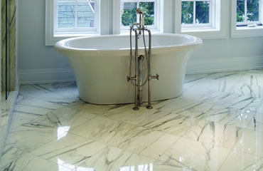 Polished marble bathroom floor